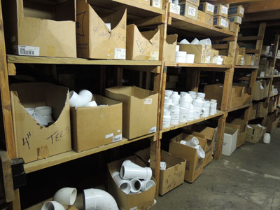 PVC pipe fittings stocked up to 4 inches
